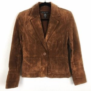 NY & Co. Camel Brown Leather Jacket | Blazer Style